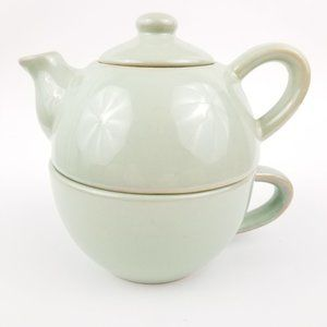 Pier 1 Stoneware 3-Piece Tea for One Teapot w/Mug